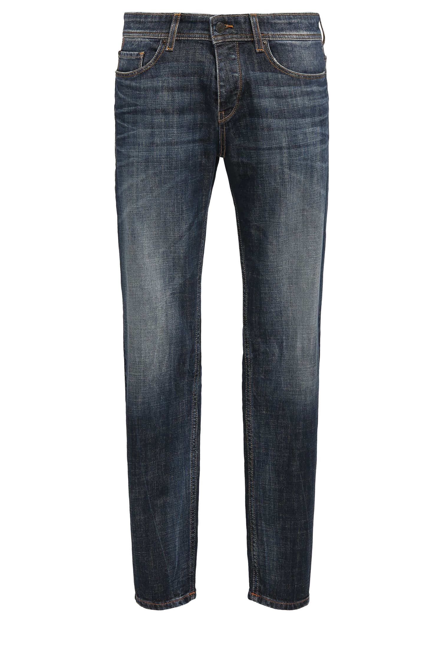 Jeans Tapered Fit en denim stretch compact, Bleu foncé