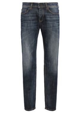 Tapered-fit jeans in compact stretch denim, Dark Blue