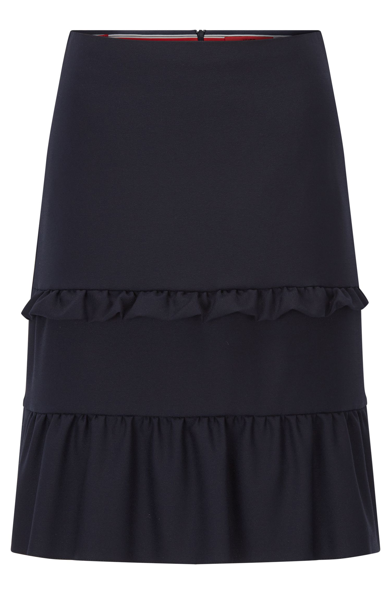 Regular-fit A-line skirt with tiered ruffle details