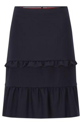 Regular-fit rok in A-lijn met gelaagde plooidetails, Donkerblauw