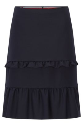 Regular-fit A-line skirt with tiered ruffle details, Dark Blue