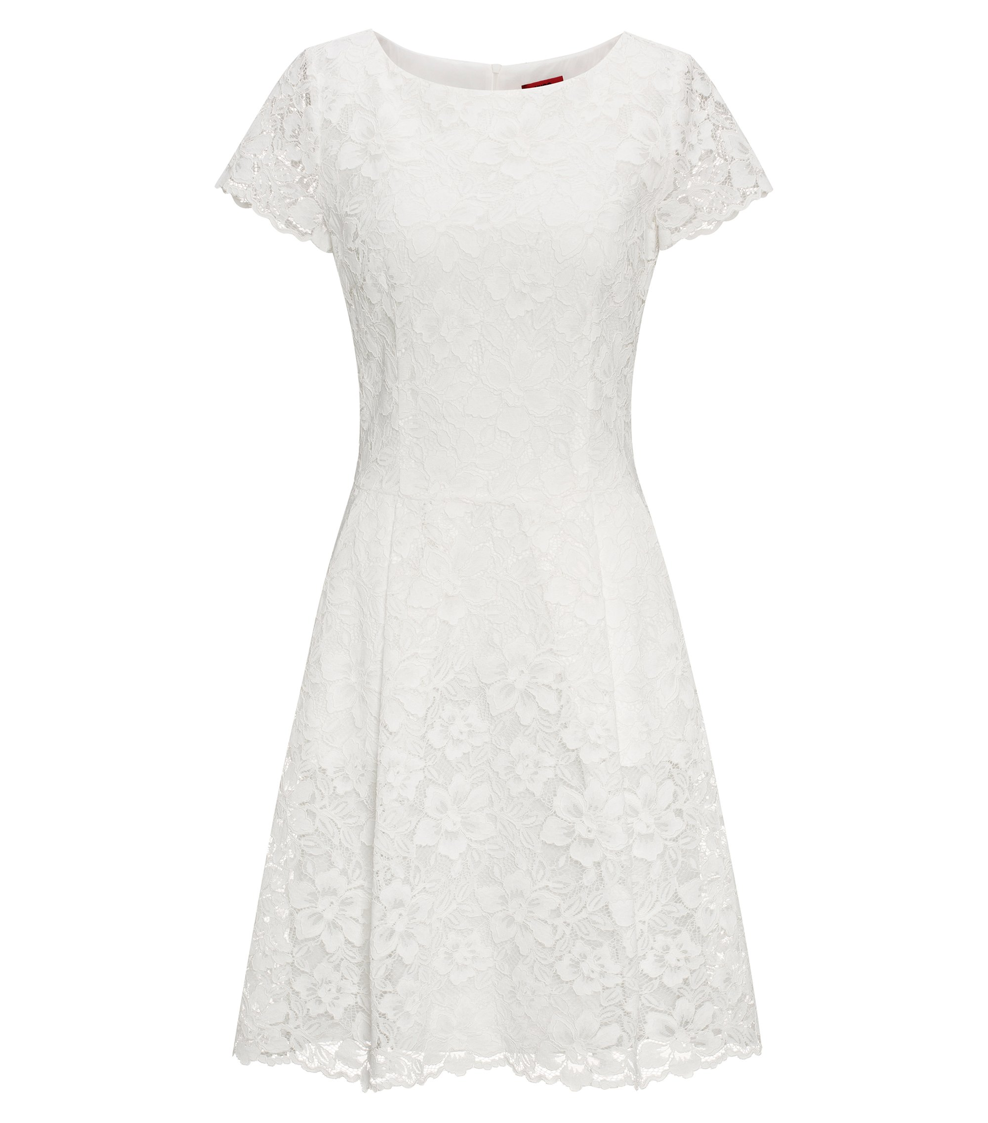 Regular-fit dress in floral lace, Natural