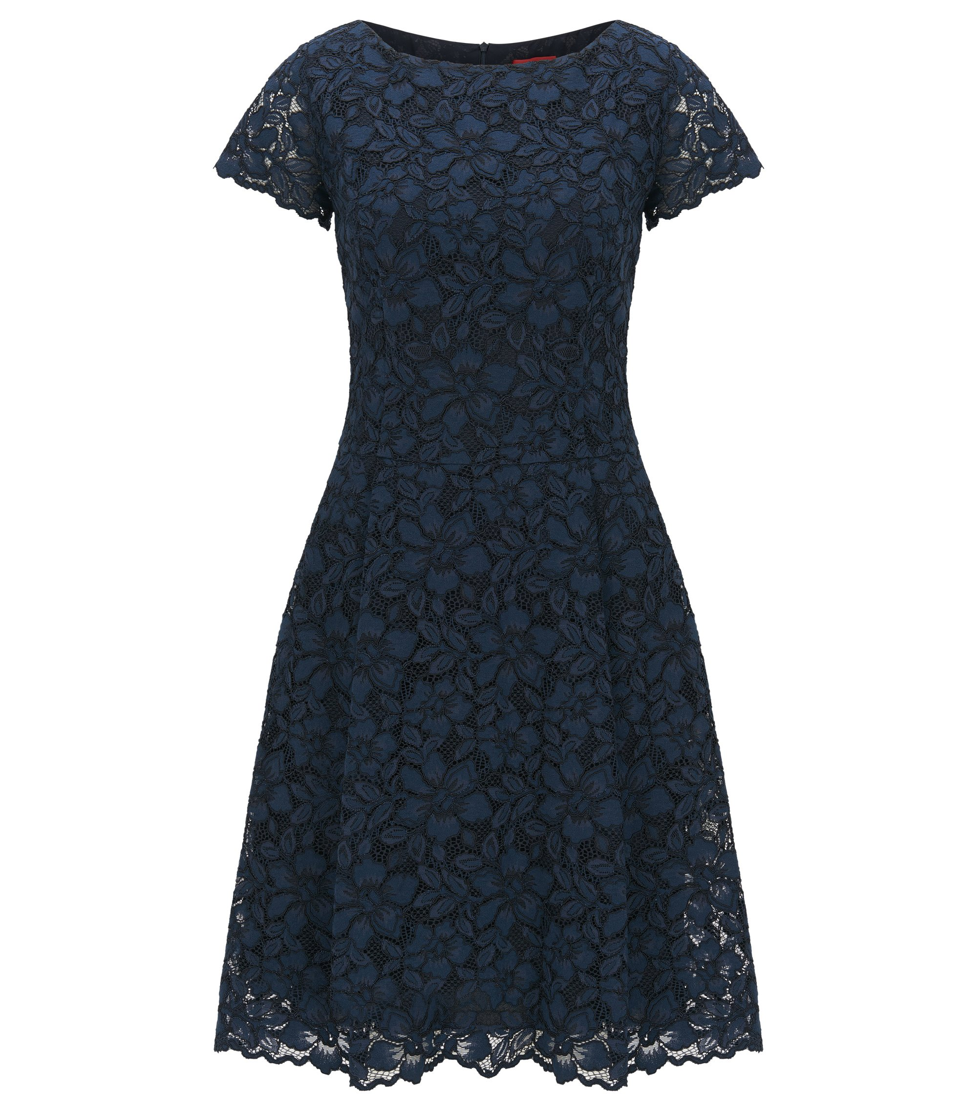 Regular-fit dress in floral lace, Dark Blue