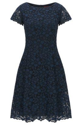 Vestido regular fit en encaje de flores, Azul oscuro