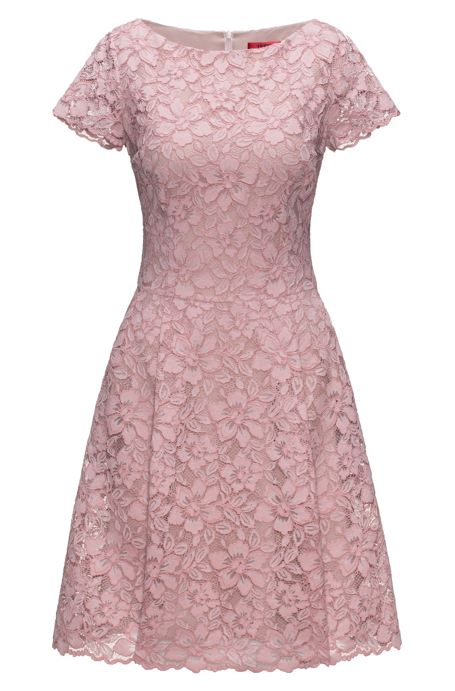 Regular-fit dress in floral lace