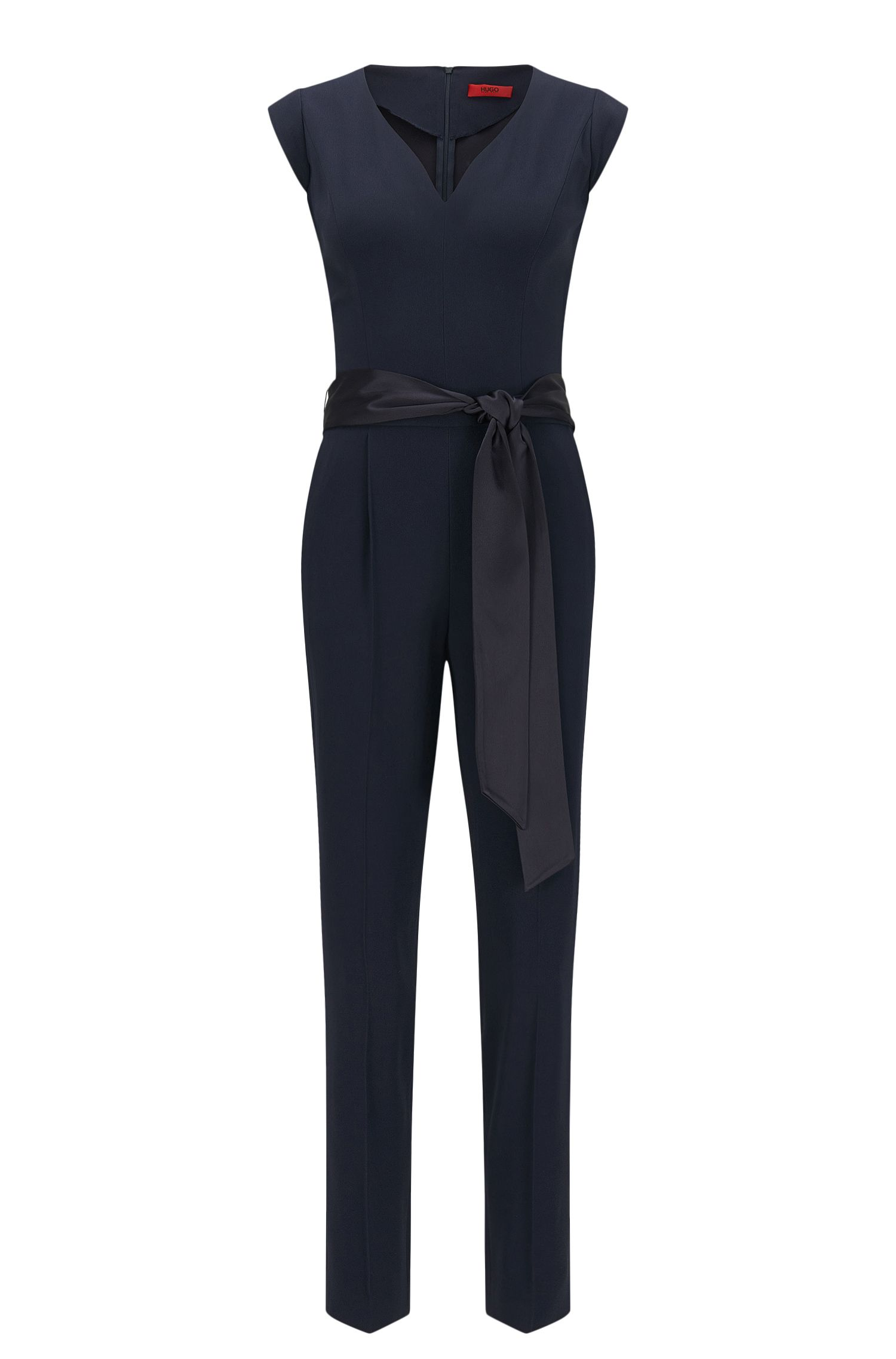 Slim-fit jumpsuit with detachable belt