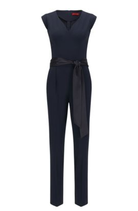 Slim-fit jumpsuit with detachable belt, Dark Blue