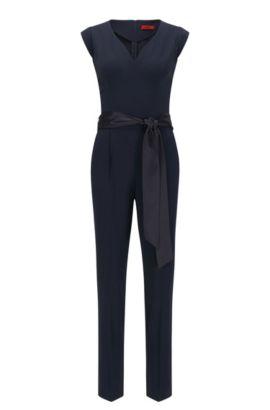 Slim-fit jumpsuit with detachable belt, Dark Blue
