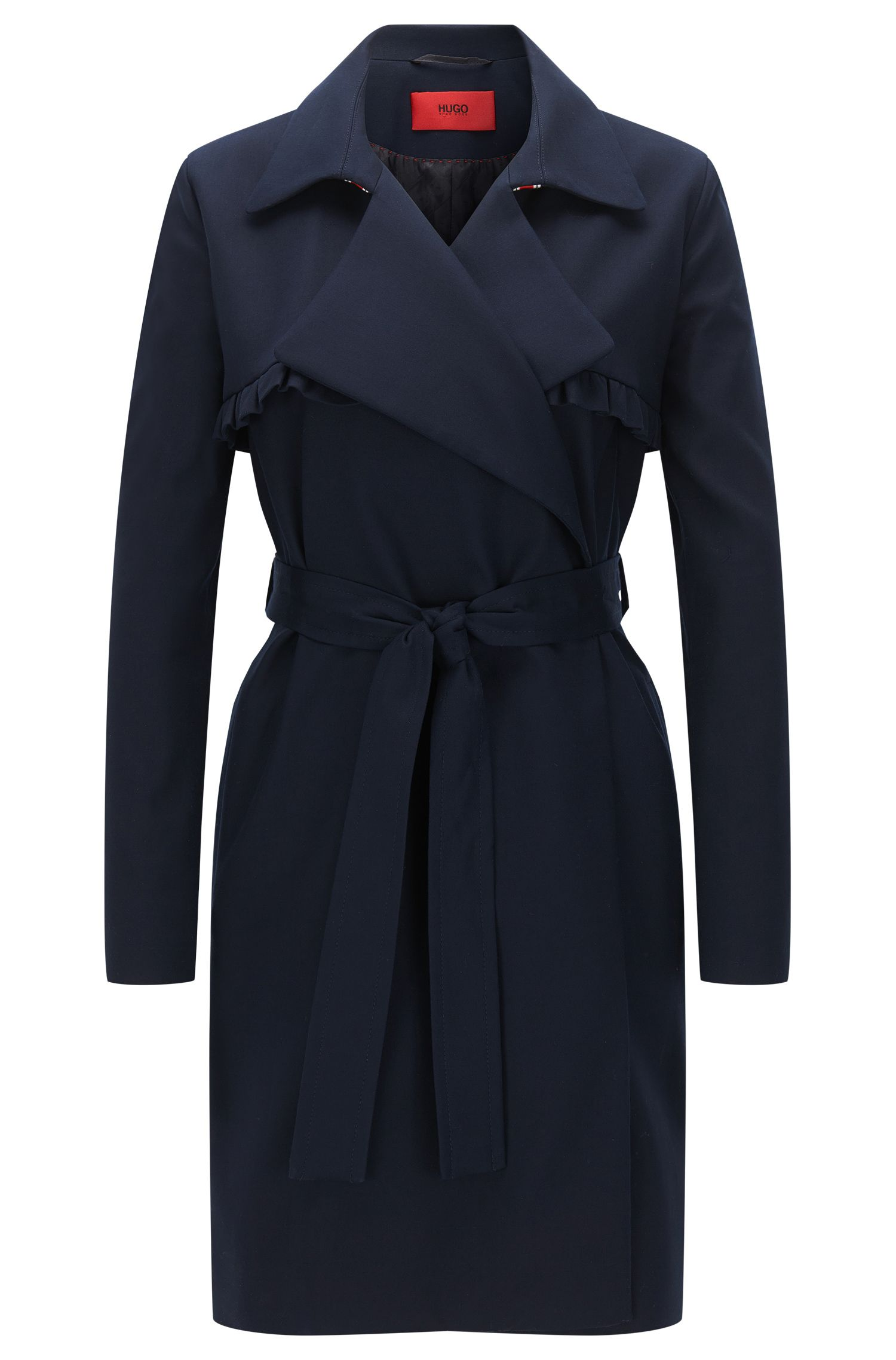 Relaxed-fit coat in cotton stretch with ruffle detail