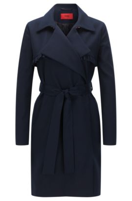 Relaxed-fit coat in cotton stretch with ruffle detail, Dark Blue