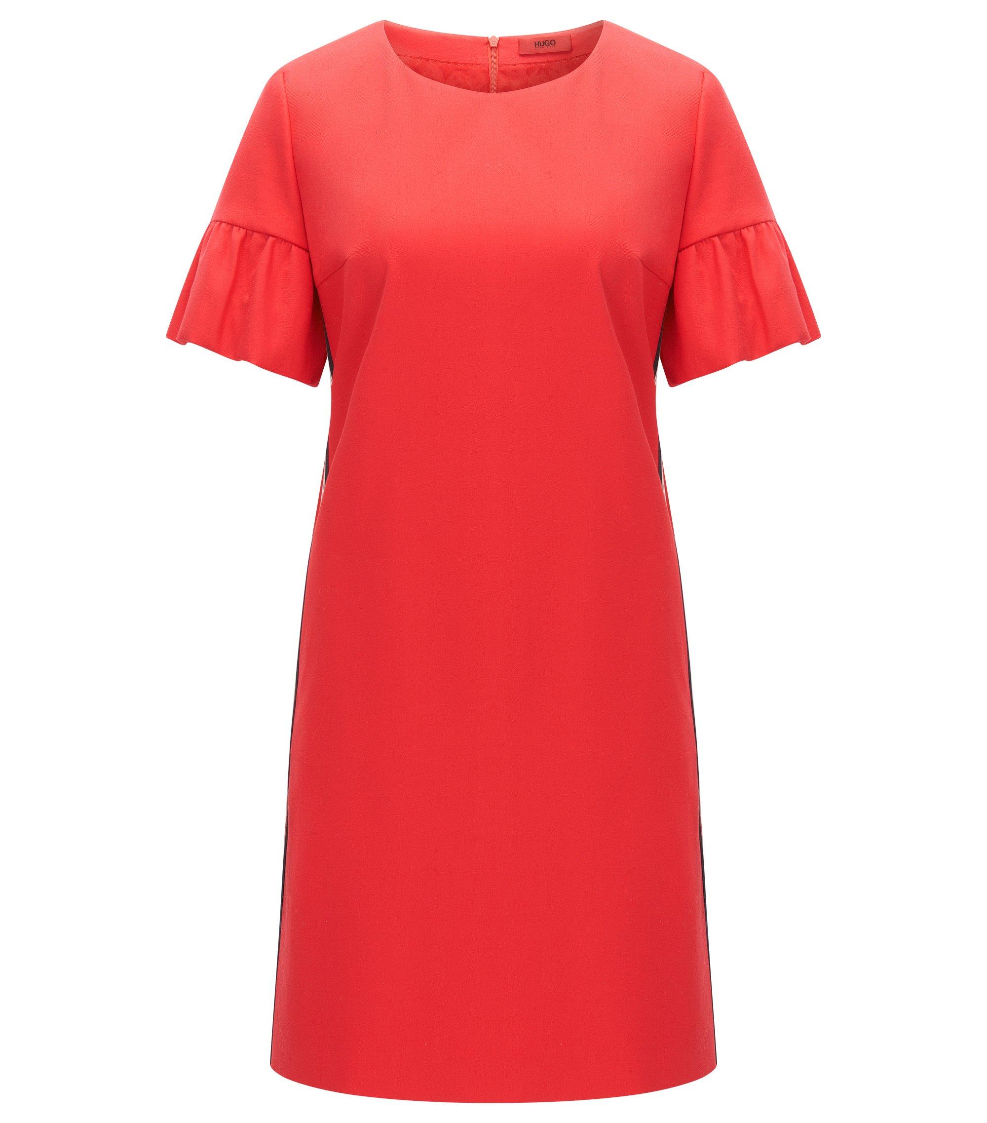 Relaxed-fit jurk van stretchkatoen met mouwen met ruches, Rood