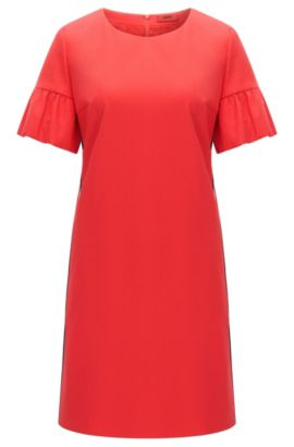 Relaxed-fit dress in stretch cotton with ruffle sleeves, Red