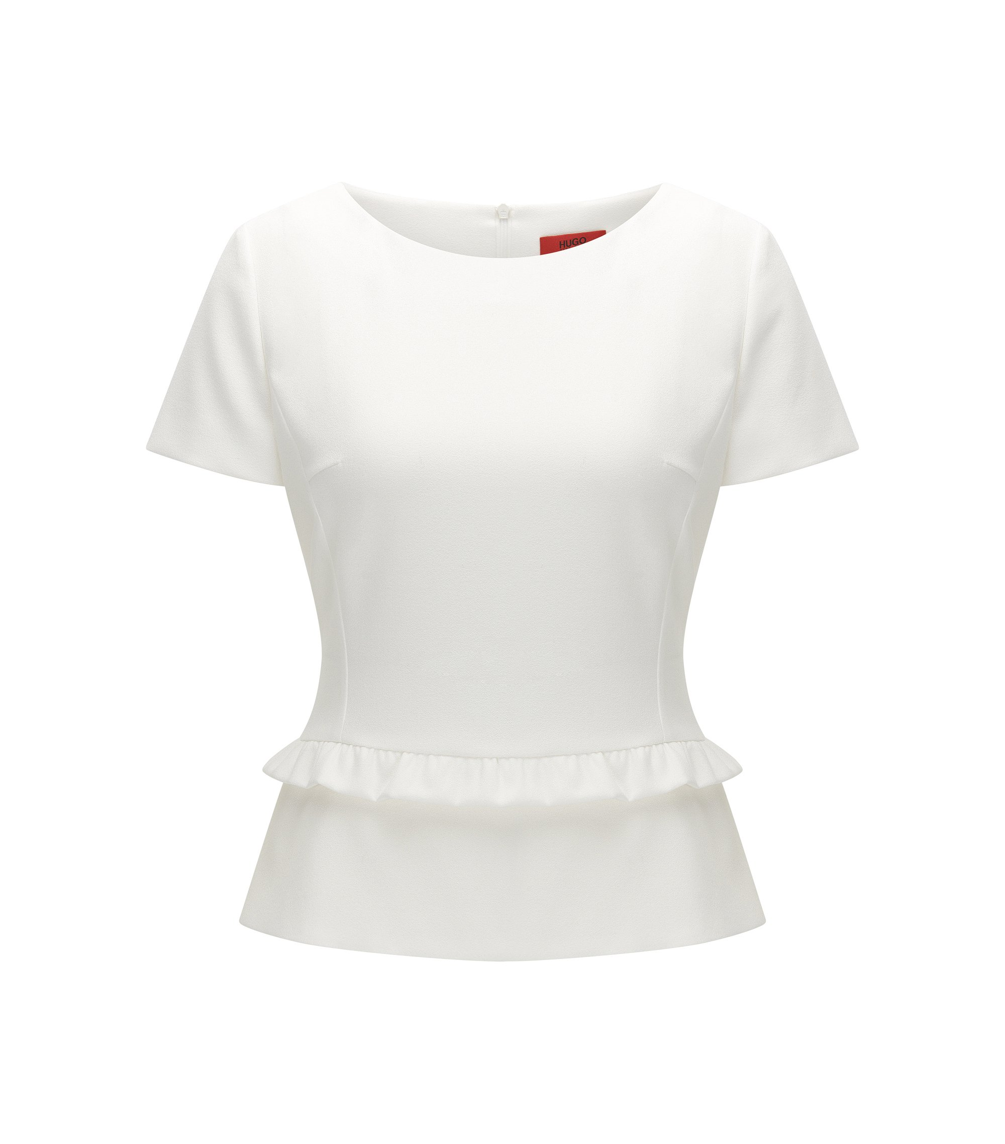 Regular-fit top met schootje en ruches, Naturel