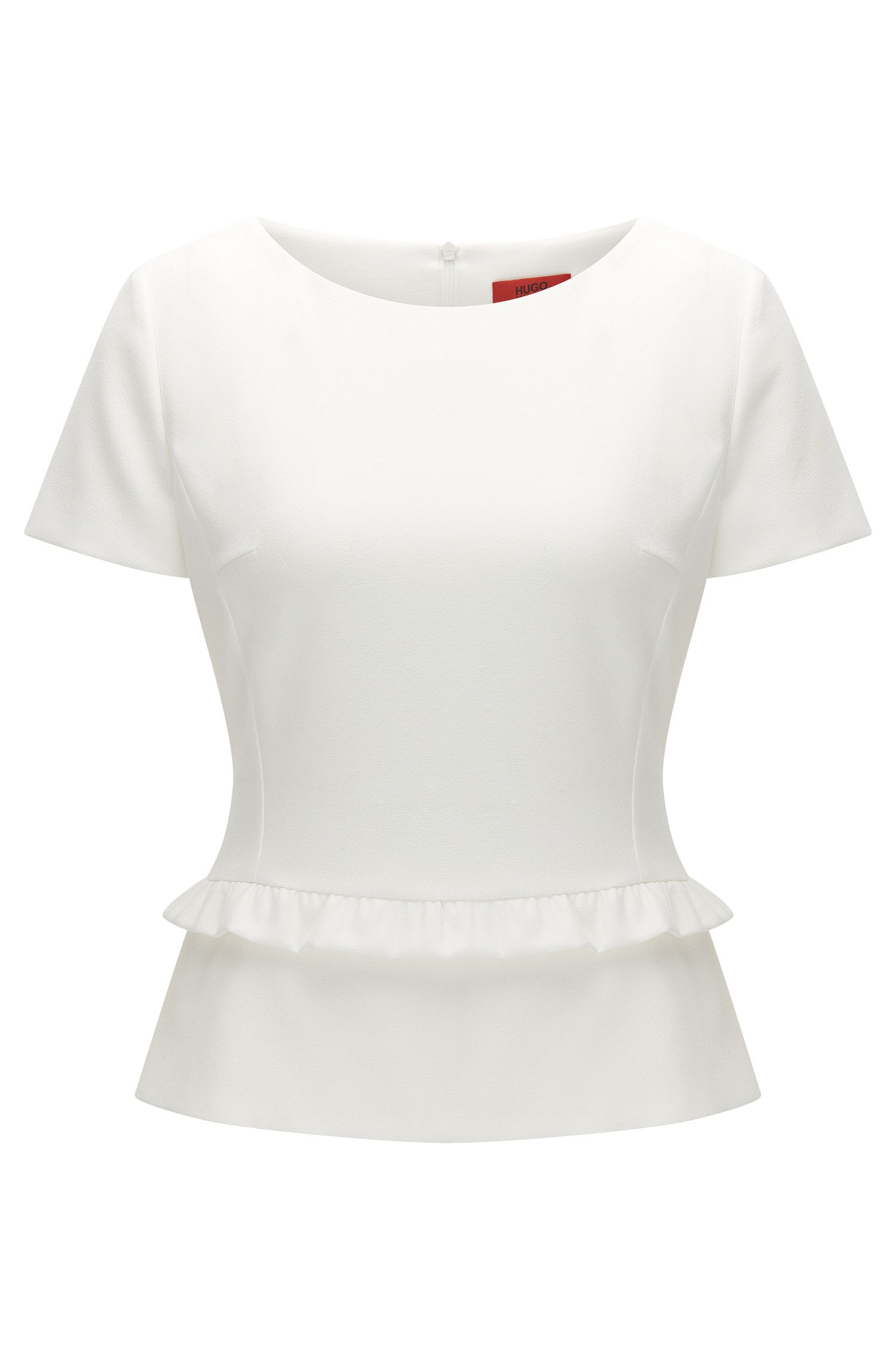 Regular-fit top with ruffled peplum