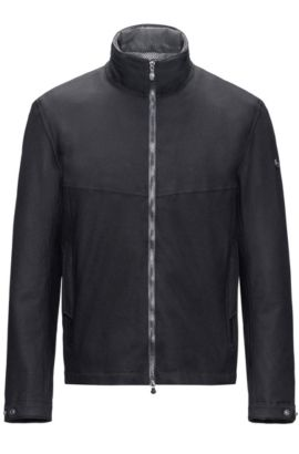 Regular-fit technical jacket with integrated heater, Black