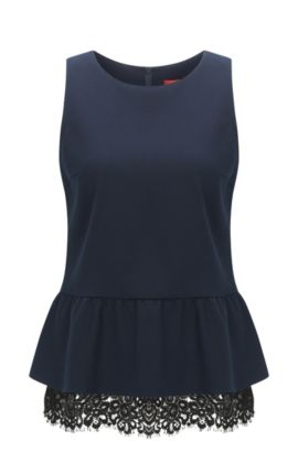 Regular-fit gabardine peplum top with intricate lace, Dark Blue