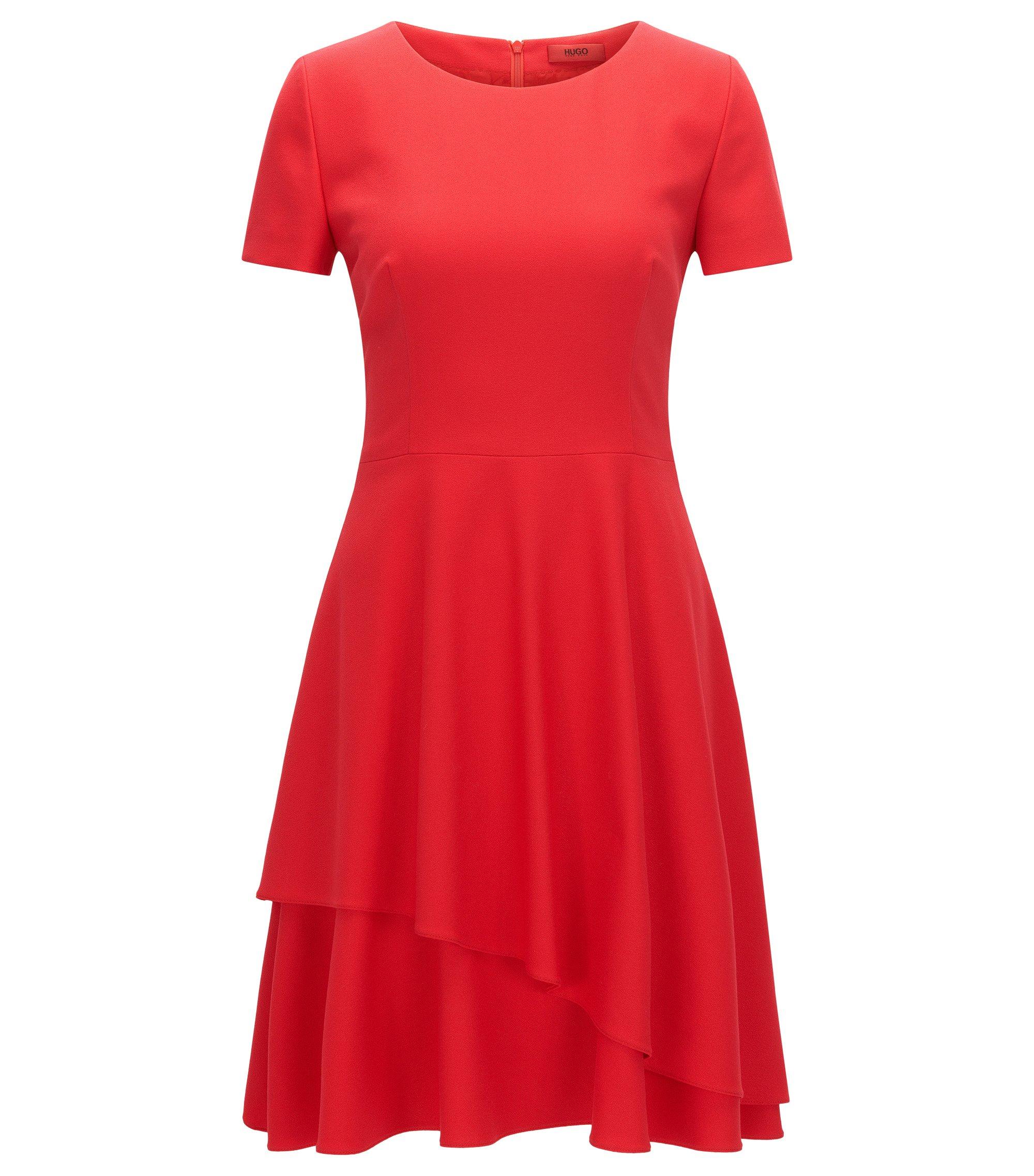 Regular-fit jurk van soepelvallende crêpe, Rood