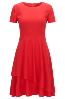 Regular-fit dress in fluid crêpe, Red