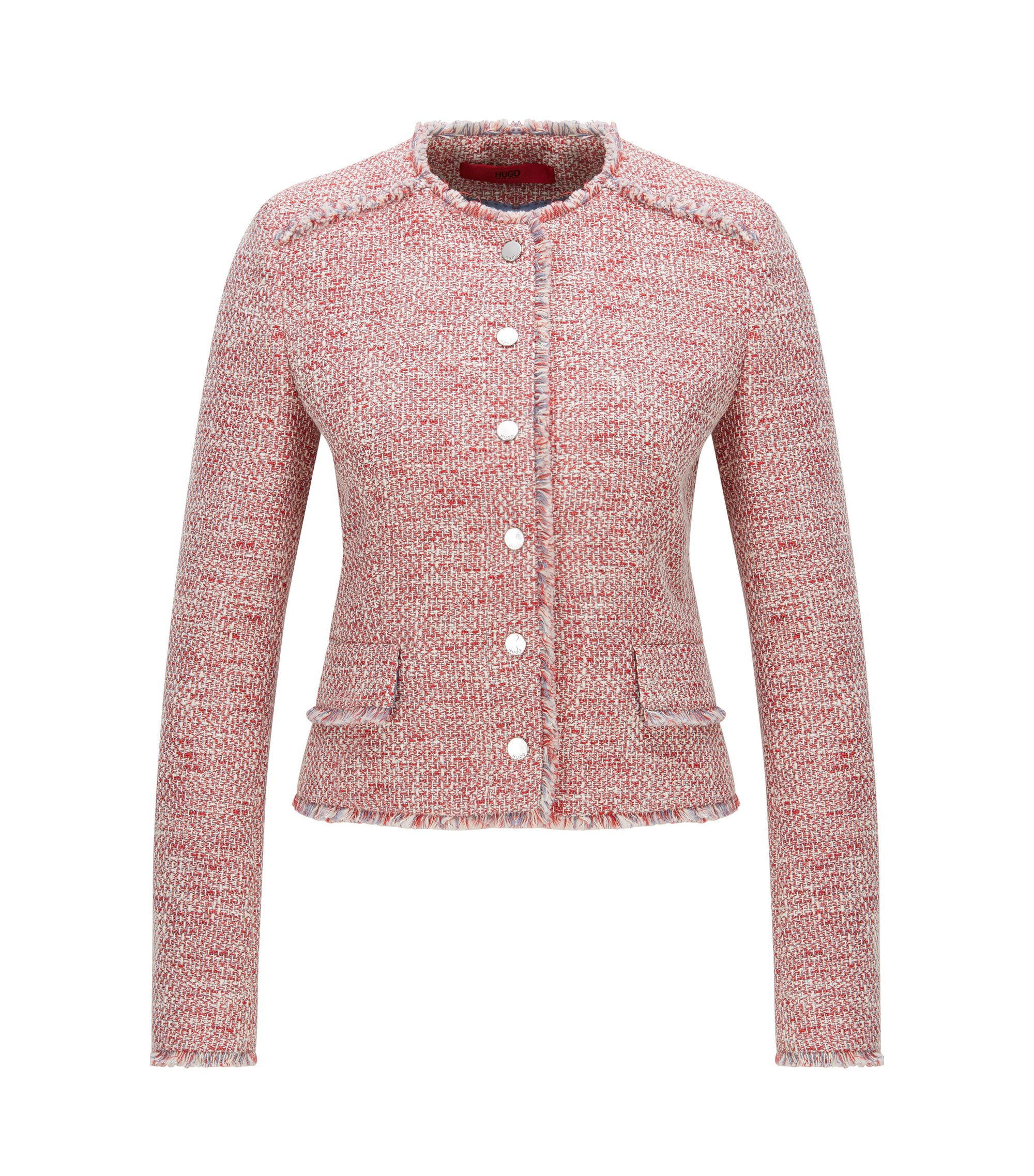 Regular-fit jacket in cotton-blend tweed, Patterned