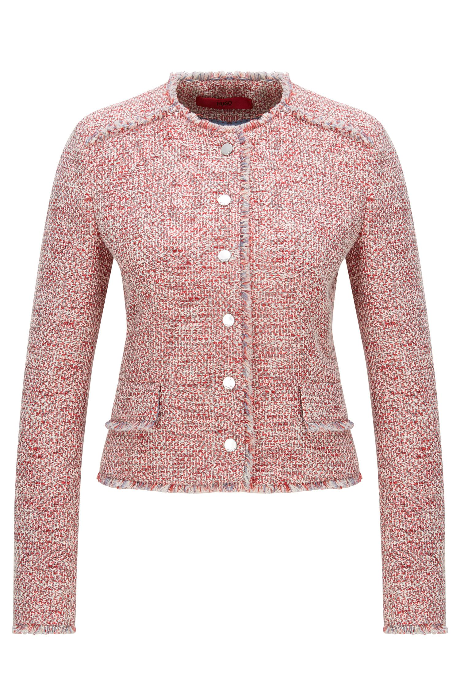 Regular-fit jacket in cotton-blend tweed