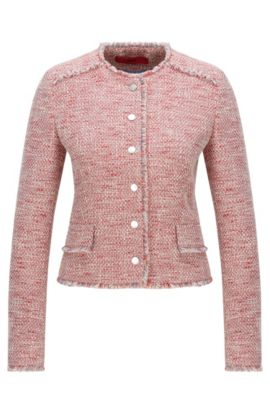 Regular-Fit Tweed-Blazer aus Baumwoll-Mix, Gemustert