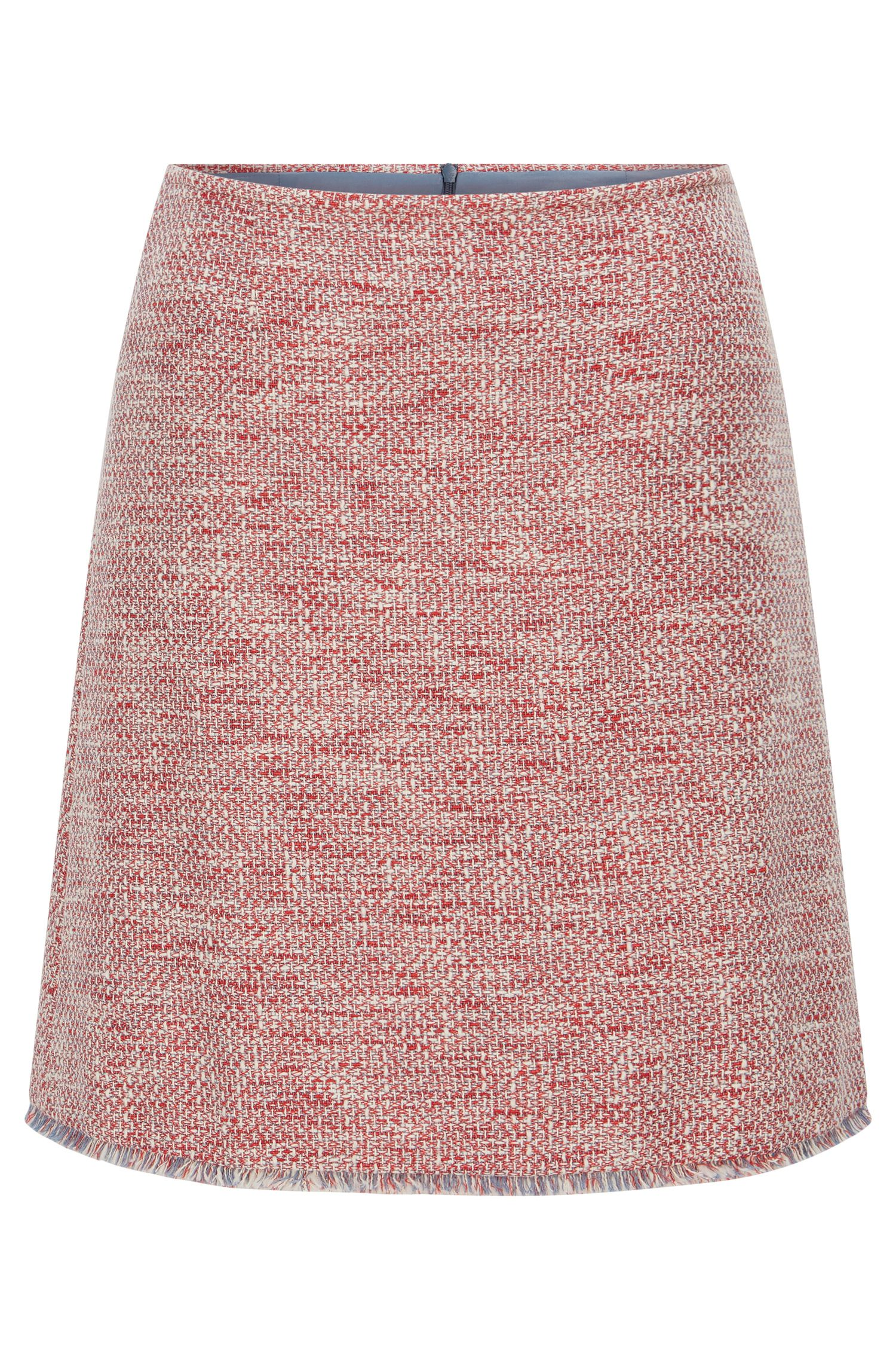 Regular-fit skirt in cotton-blend tweed