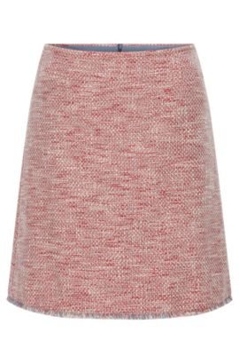 Regular-fit skirt in cotton-blend tweed, Patterned