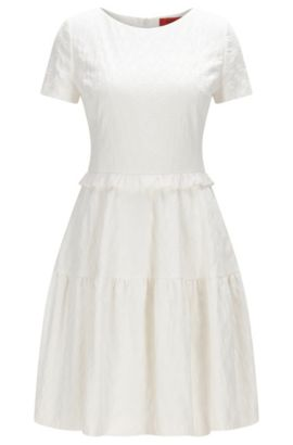 Regular-fit dress in kissing cat jacquard, Natural