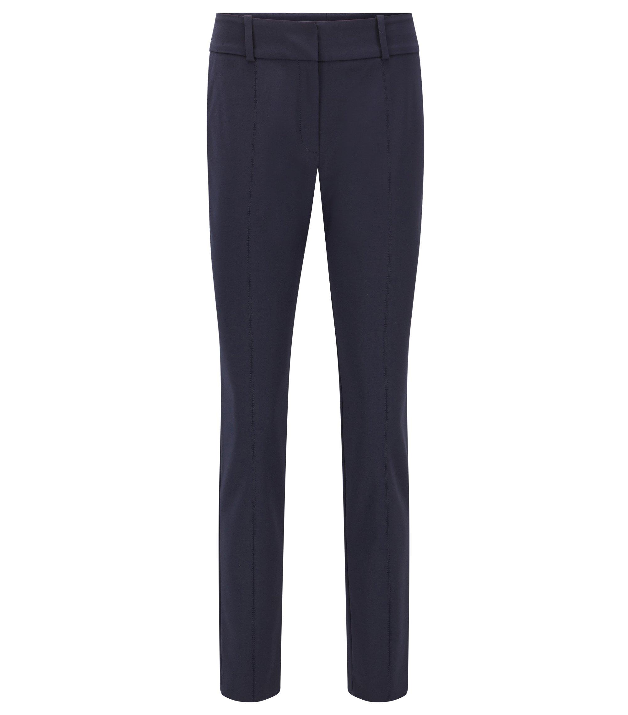 Pantalon Slim Fit infroissable en coton mélangé , Bleu foncé