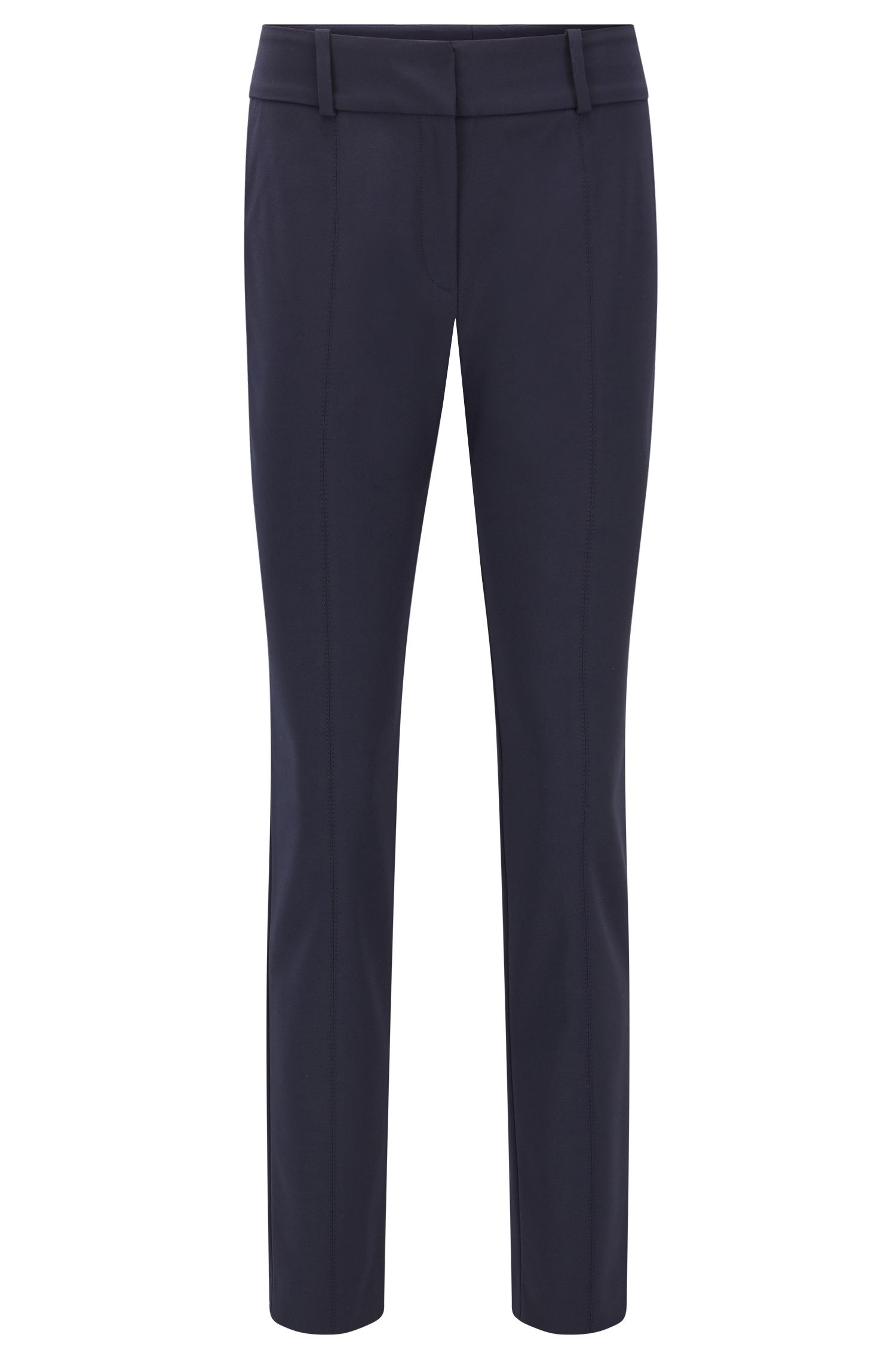 Slim-fit anti-wrinkle trousers in a cotton blend