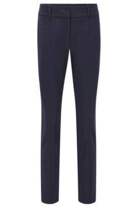 Slim-fit anti-wrinkle trousers in a cotton blend , Dark Blue
