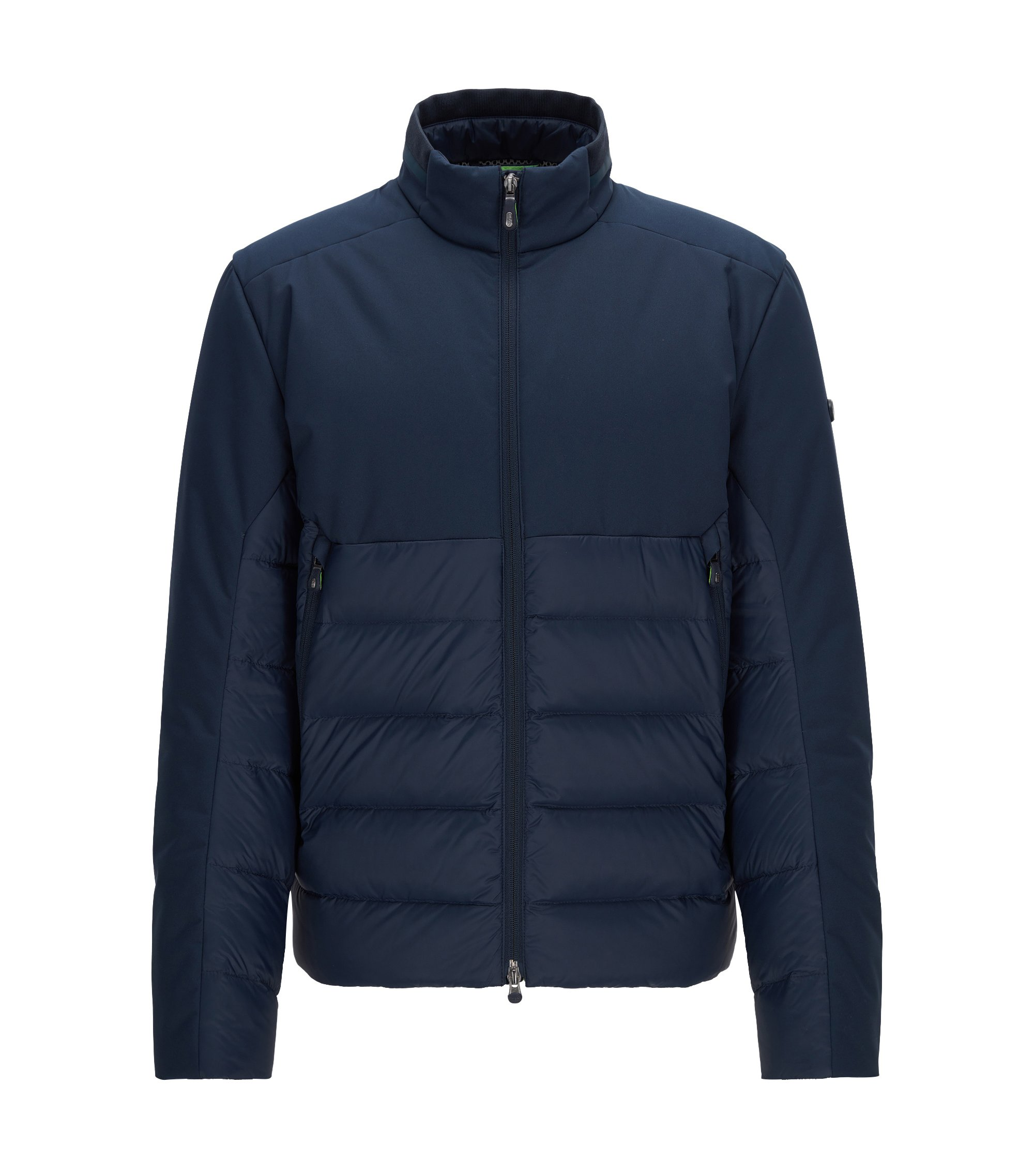 Regular-fit premium-down jacket with water-repellent finish, Dark Blue