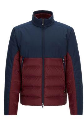 Regular-Fit Jacke aus wasserabweisendem Material-Mix mit Füllung aus Premium-Daunen, Rot