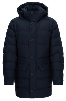 Regular-Fit Daunenjacke aus Material-Mix , Dunkelblau