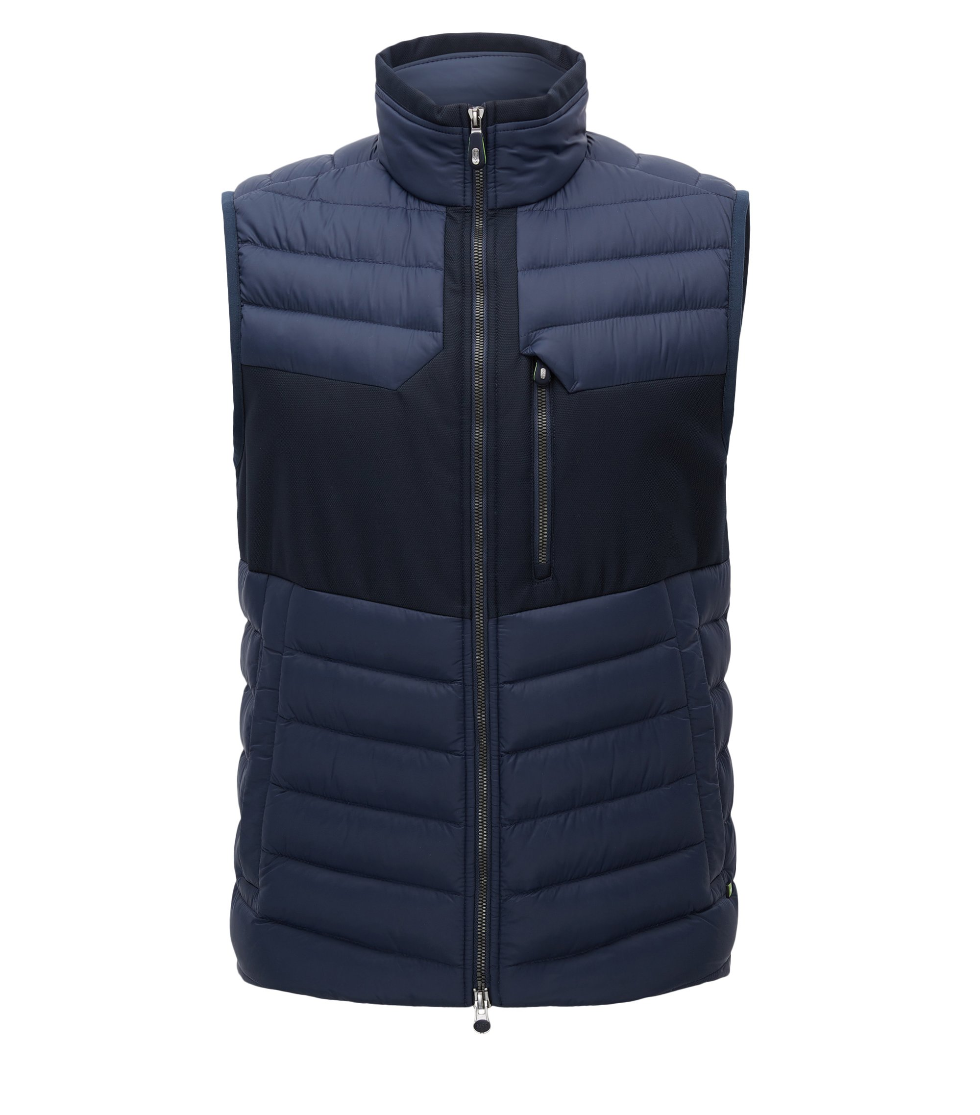 Gilet regular fit in taffetà idrorepellente, Blu scuro