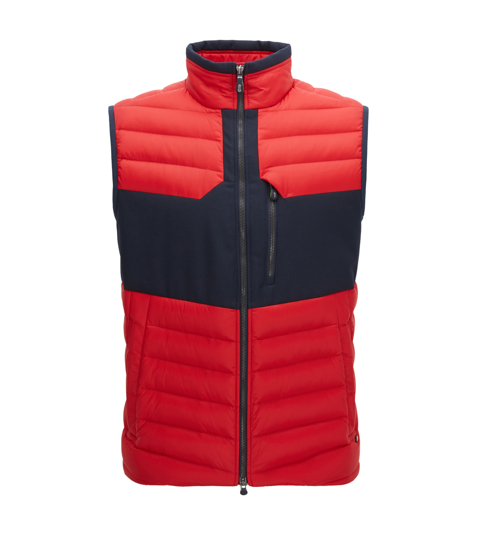 Regular-fit bodywarmer van waterafstotend tafzijde, Rood