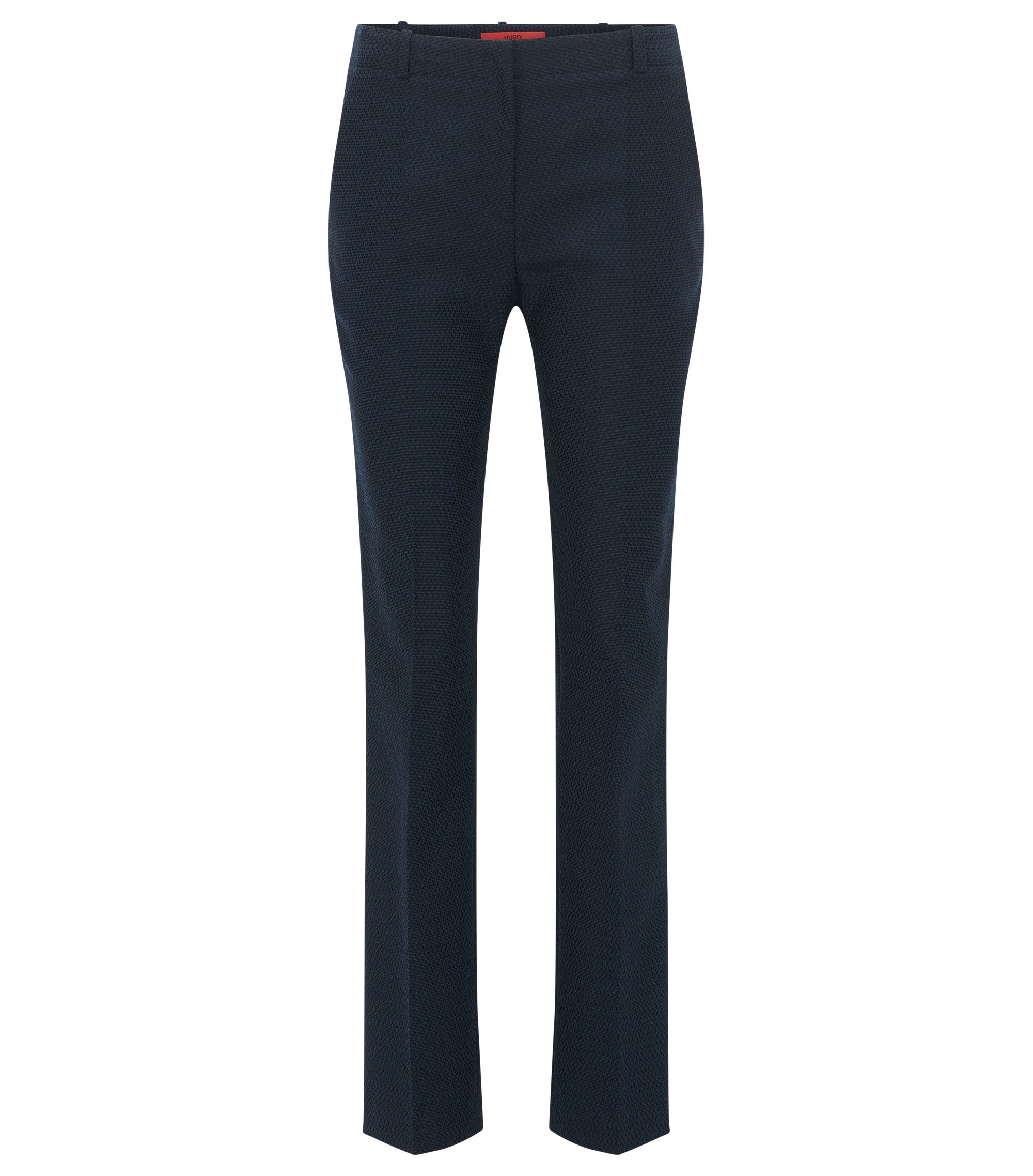 Pantaloni regular fit in misto cotone con lana, Blu scuro