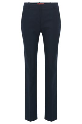 Regular-fit trousers in a cotton-wool blend, Dark Blue