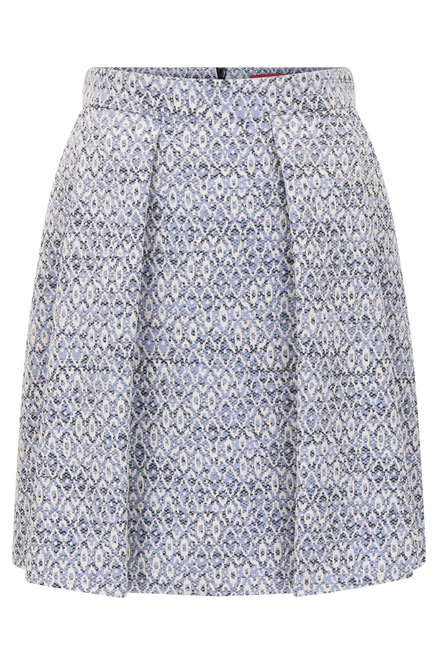 Regular-fit rok in jacquard van een katoenmix