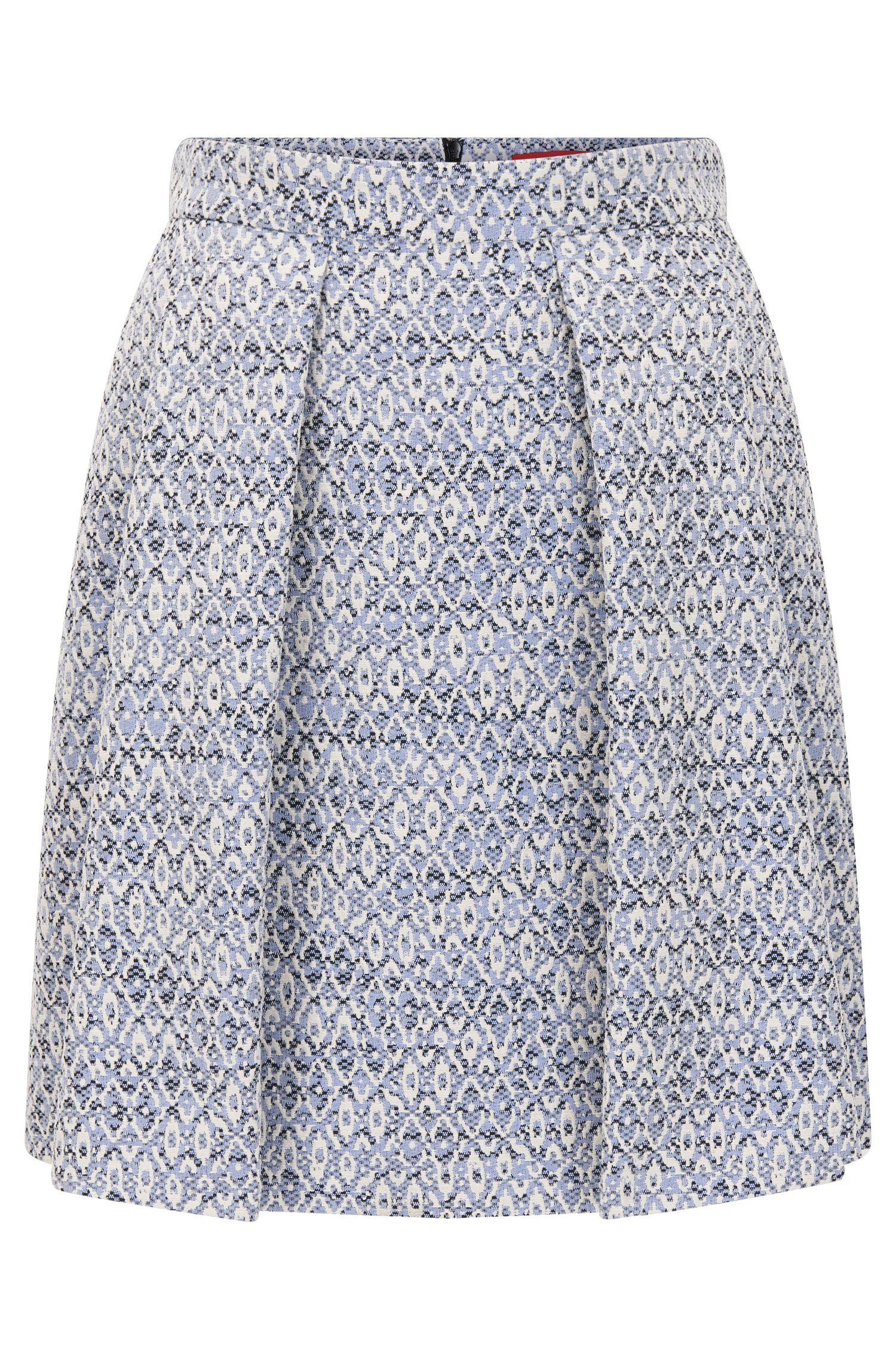 Regular-fit skirt in cotton-blend jacquard