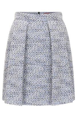 Regular-fit skirt in cotton-blend jacquard, Light Blue