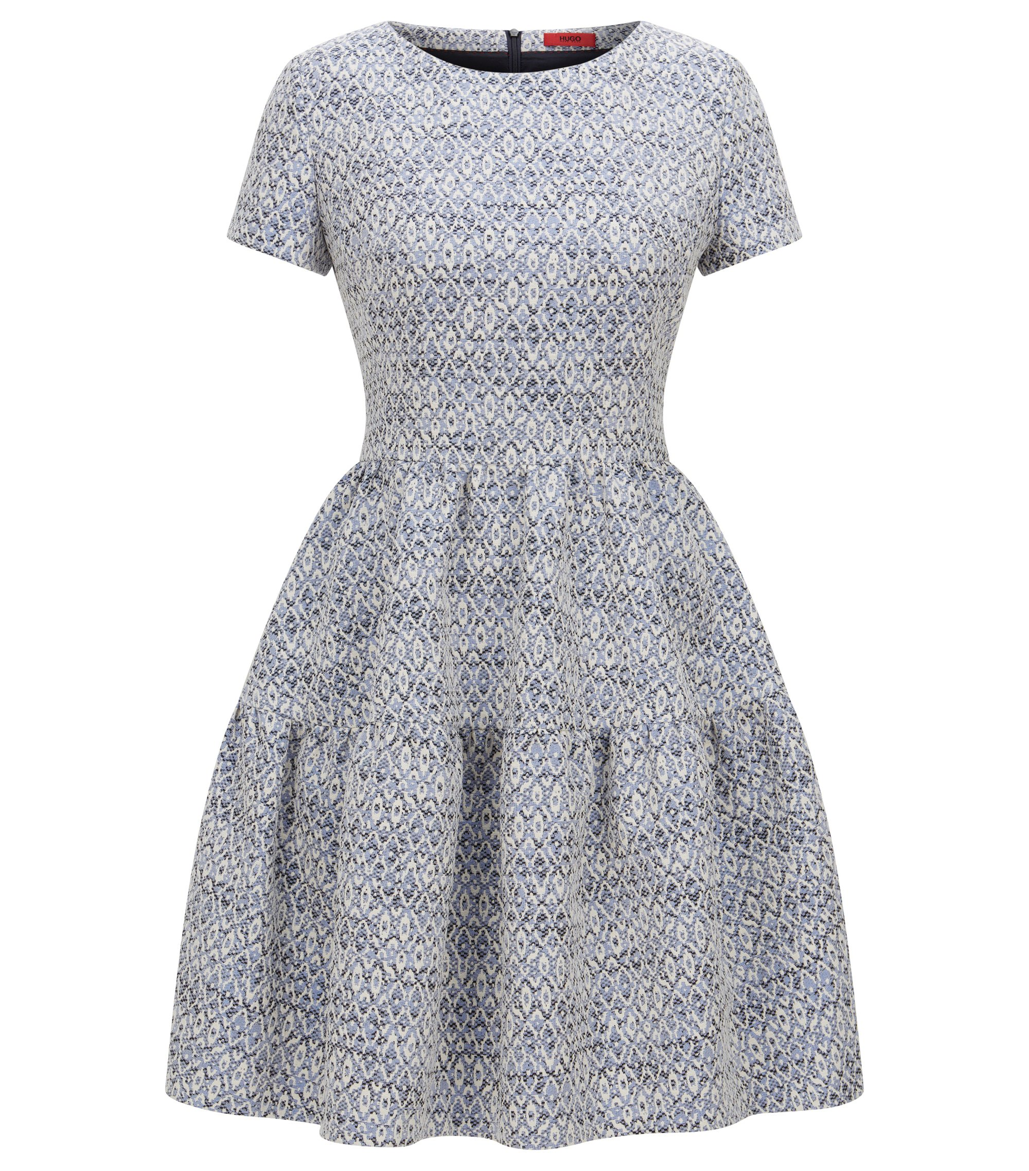 Regular-fit jaquard dress in abstract pattern, Light Blue