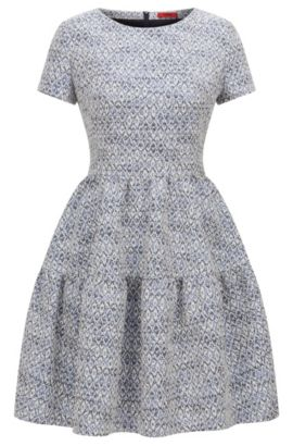 Vestido regular fit de jacquard con estampado abstracto, Celeste