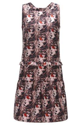Gerade geschnittenes Kleid aus einem Baumwoll-Mix mit Rüschen, Gemustert