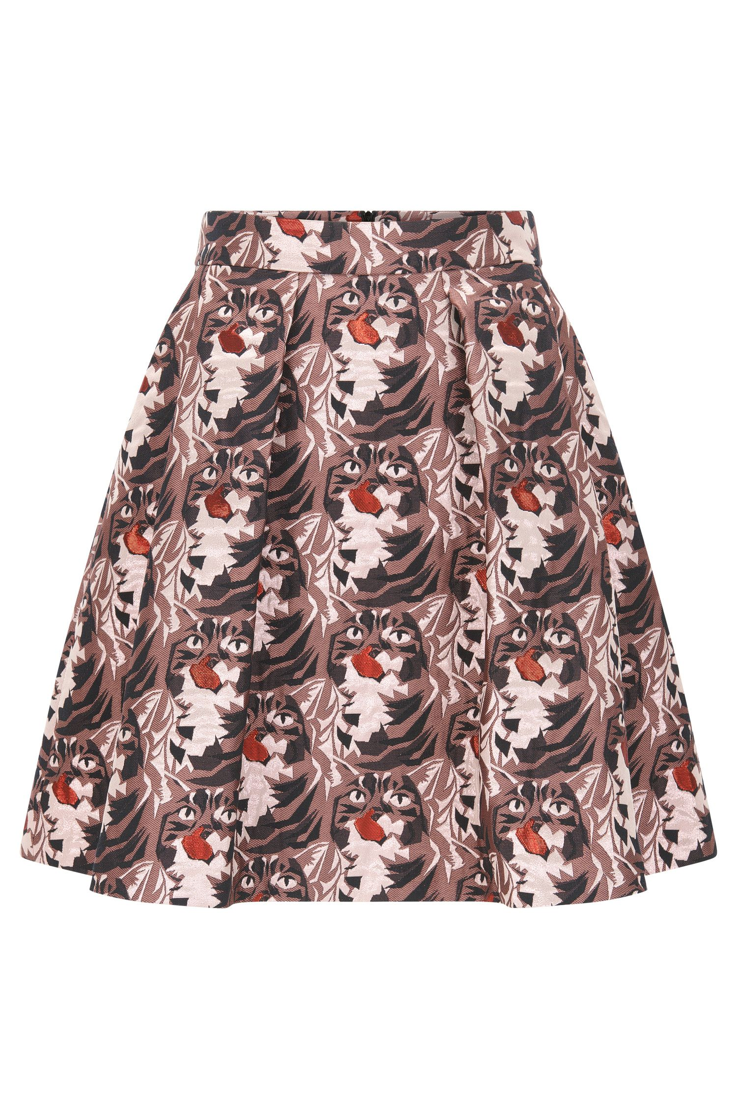 Regular-fit A-line skirt in lurex jacquard pattern