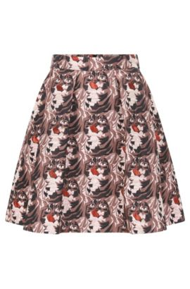 Regular-fit A-line skirt in lurex jacquard pattern, Patterned