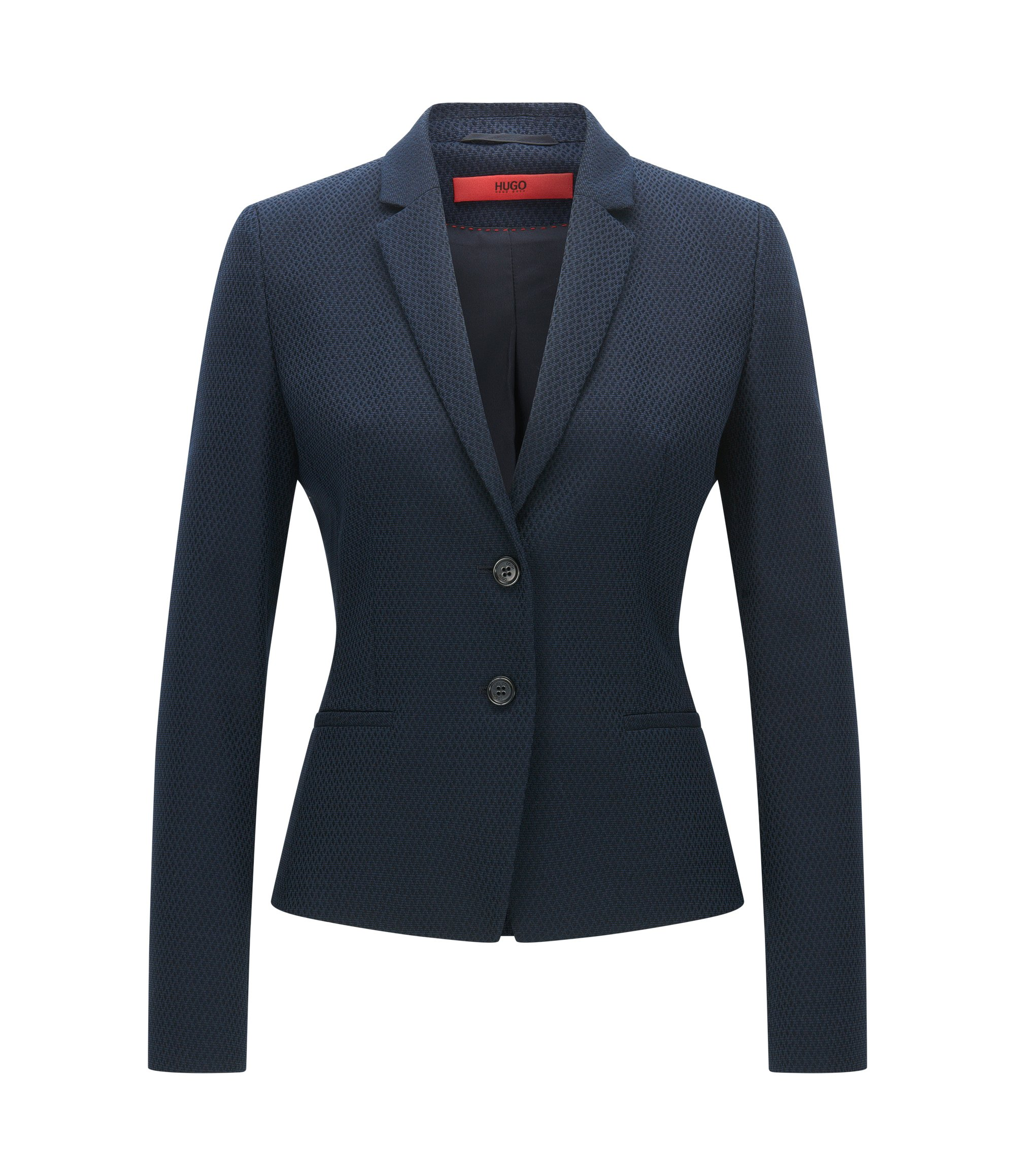 Regular-fit jacket in cotton and wool blend, Dark Blue