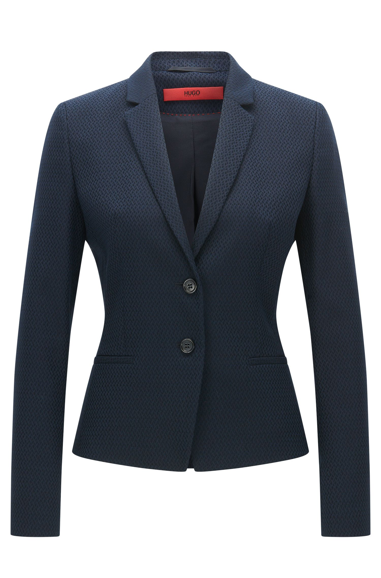 Regular-fit jacket in cotton and wool blend