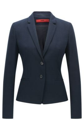 Giacca regular fit in misto cotone con lana, Blu scuro