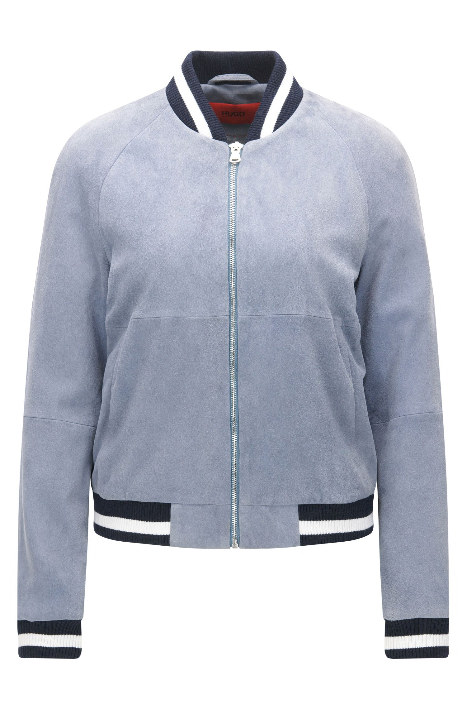 Relaxed-fit bomber jacket in soft suede